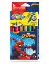 Flamastry 6 kolorów metaliczne Colorino Kids Spiderman