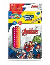 Kredki ołówkowe trójkątne 12 sztuk 13 kolorów + temperówka Colorino Kids Avengers