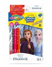 Kredki ołówkowe trójkątne 12 sztuk 13 kolorów + temperówka Colorino Kids Frozen Kraina Lodu