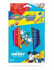 Kredki ołówkowe trójkątne 12 sztuk 13 kolorów + temperówka Colorino Kids Mickey