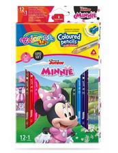 Kredki ołówkowe trójkątne 12 sztuk 13 kolorów + temperówka Colorino Kids Minnie