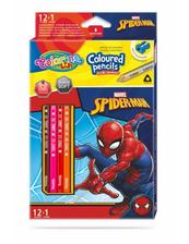 Kredki ołówkowe trójkątne 12 sztuk 13 kolorów + temperówka Colorino Kids Spiderman
