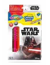 Kredki ołówkowe trójkątne 12 sztuk 13 kolorów + temperówka Colorino Kids Star Wars