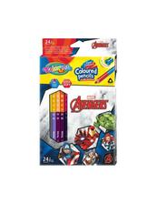Kredki ołówkowe trójkątne dwukolorowe 12 sztuk 24 kolory + temperówka Colorino Kids Avengers