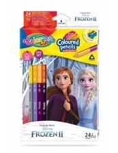 Kredki ołówkowe trójkątne dwukolorowe 12 sztuk 24 kolory + temperówka Colorino Kids Frozen