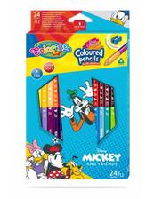 Kredki ołówkowe trójkątne dwukolorowe 12 sztuk 24 kolory + temperówka Colorino Kids Mickey