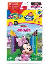 Kredki ołówkowe trójkątne dwukolorowe 12 sztuk 24 kolory + temperówka Colorino Kids Minnie