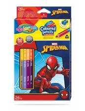 Kredki ołówkowe trójkątne dwukolorowe 12 sztuk 24 kolory + temperówka Colorino Kids Spiderman