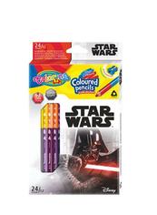 Kredki ołówkowe trójkątne dwukolorowe 12 sztuk 24 kolory + temperówka Colorino Kids Star Wars