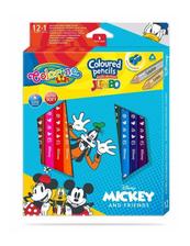 Kredki ołówkowe trójkątne JUMBO 12 sztuk 13 kolorów + temperówka Colorino Kids Mickey