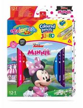Kredki ołówkowe trójkątne JUMBO 12 sztuk 13 kolorów + temperówka Colorino Kids Minnie