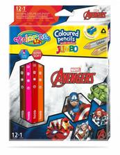 Kredki ołówkowe trójkątne JUMBO 12 sztuk 13 kolorów + temperówka Colorino Kids Avengers