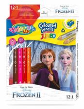 Kredki ołówkowe trójkątne JUMBO 12 sztuk 13 kolorów + temperówka Colorino Kids Frozen