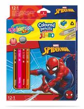 Kredki ołówkowe trójkątne JUMBO 12 sztuk 13 kolorów + temperówka Colorino Kids Spiderman
