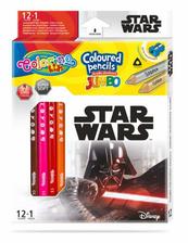 Kredki ołówkowe trójkątne JUMBO 12 sztuk 13 kolorów + temperówka Colorino Kids Star Wars