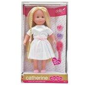 Lalka Catherine jasne włosy, biała sukienka 41 cm