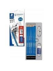 Ołówek Lumograph 2H,HB,B,2B,4B,6B + gumka + temp.