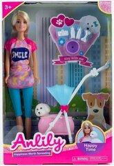Lalka Anlily 30 cm z pieskiem i wózkiem