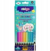 Kredki ołówkowe pastelowe Lenka 12 kolorów STRIGO