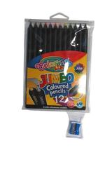 Kredki czarne drewno JUMBO 12kol w etui COLORINO kids 55857