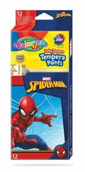 Farby tempera 12 kolorów w tubach 12 ml Spiderman Colorino Kids 91840