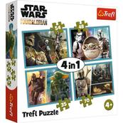 Puzzle 4w1 Mandalorian i jego świat STAR WARS 34377 Trefl