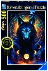 Puzzle 500 Świecące - Wilk i księżyce