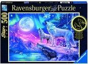 Puzzle 500 Świecące - Wilk w zorzy polarnej