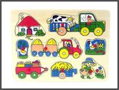 Puzzle drewniane Zwierzęta / Pojazdy