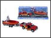 Auto Straż 12cm z łódką z dźwiękiem w pudełku pod kloszem HIPO