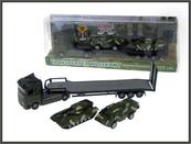 Transporter wojskowy + 2 pojazdy pod kloszem 540104 HIPO