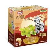 Baby Blocks Safari krokodyl i zebra 16 elementów