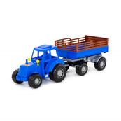 """Polesie 84781 Traktor """"Majster"""" niebieski z przyczepą Nr2 w siatce"""