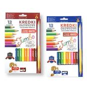 Kredki ołówkowe Jumbo trójkątne 12 kolorów z temperówką mix