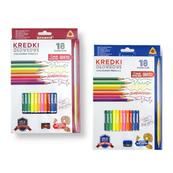 Kredki ołówkowe trójkątne 18 kolorów z temperówką mix