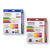 Kredki ołówkowe trójkątne 24 kolory z temperówką mix