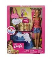 PROMO Barbie Lalka zestaw kąpiel piesków GDJ37 MATTEL