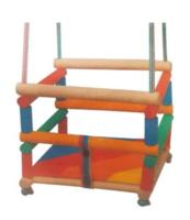 Huśtawka drewniana kolorowa z poduszką