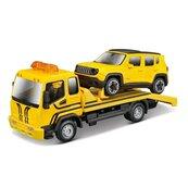 Street Fire Tow Truck W Jeep Yellow 1:43 BBURAGO