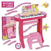 Bontempi Girl Elektroniczne organy ze statywem, krzesełkiem i mikrofonem,róż 33483 DANTE