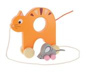Kotek z Myszką na kółkach zabawka drewniana Bobaski i Miś 61445