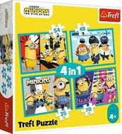Puzzle 4w1 Wesoły Świat Minionków TREFL