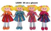 Lalka szmacianka 30cm 4 wzory z głosem 154514 cena za 1szt