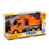 """Polesie 86457 """"Profi' samochód-koparka z napędem, pomarańczowy, światło, dźwięk w pudełku"""
