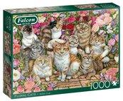 Puzzle 1000 Falcon Koty i kwiaty G3