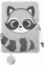 Pamiętnik z kłódką 3D włochacz A5 96k Szop pracz / Raccoon