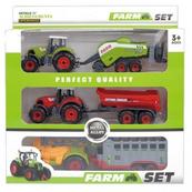 Traktor metal z przyczepą 3 szt. w pudełku 1000303