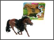 Koń plastikowy z ruchomą głową 30cm dźwięk mix 2 kolory + akcesoria w pudełku BYL902-1