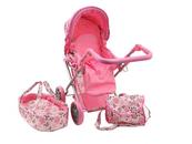 Wózek dla lalek jasny róż w kwiatki i motylki M1303 533950 ADAR