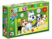 Puzzle 60 Pieski kwiatki